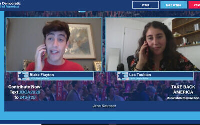 "Blake Flayton and Lea Toubian, student fellows with the Jewish Democratic Council of America, pretend to phone one another to demonstrate a ""get out the vote"" tactic in a JDCA Zoom event on August 13, 2020. (Screenshot)"