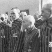 Inmates of the German concentration camp in Sachsenhausen, near Berlin, stand in line during an attendance check, December 19, 1938. German car parts maker Continental says it used slave labor from the camp during World War II. (AP Photo)