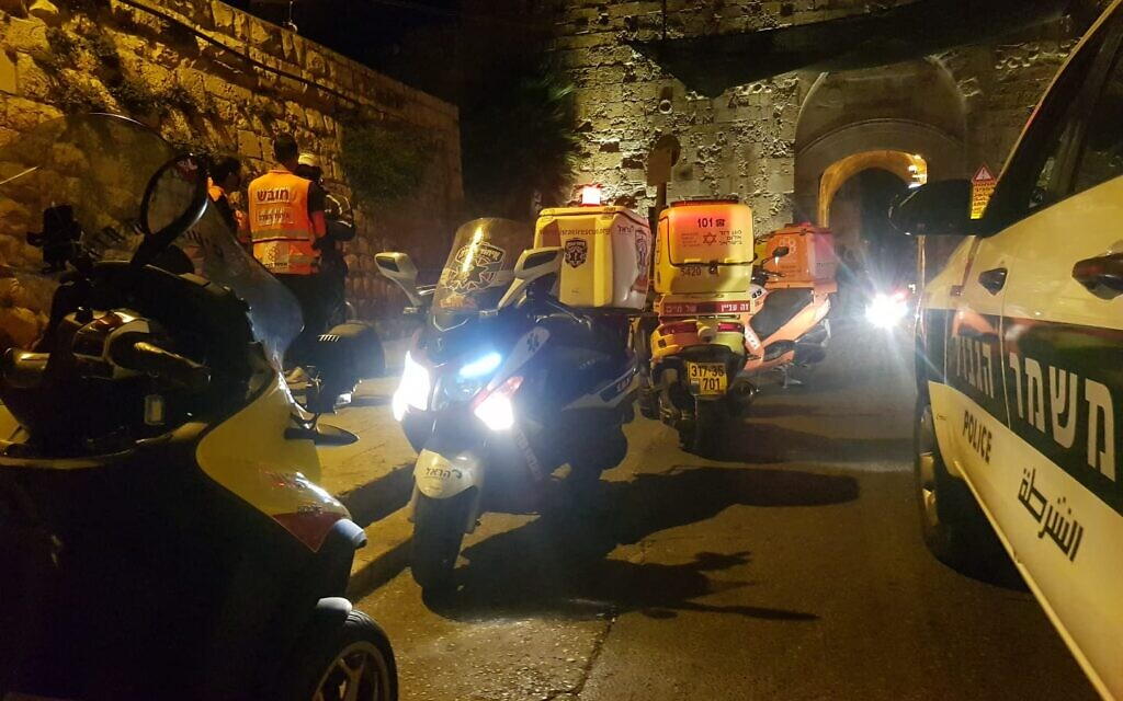 The scene of a stabbing attack in Jerusalem's Old City on August 17, 2020. (United Hatzalah of Israel)