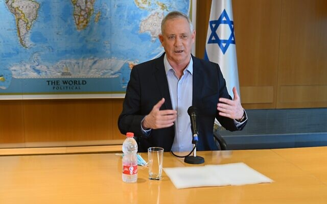 Defense Minister Benny Gantz speaks at a press conference in his office at Defense Ministry headquarters in Tel Aviv, on August 18, 2020. (Ariel Hermoni/Defense Ministry)