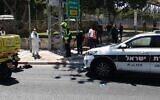 Emergency responders arrive at the scene of a stabbing at the Segula Junction outside Petah Tikva on August 26, 2020. (Magen David Adom)