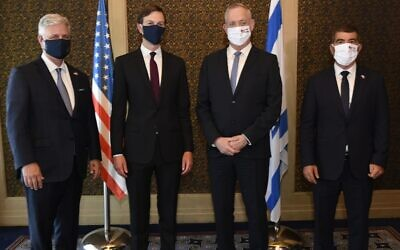 From left to right: US National Security Adviser Robert O'Brien, White House senior adviser Jared Kushner, Defense Minister Benny Gantz and Foreign Minister Gabi Ashkenazi at the King David Hotel in Jerusalem on August 30, 2020. (Jorge Novomeysky/GPO)