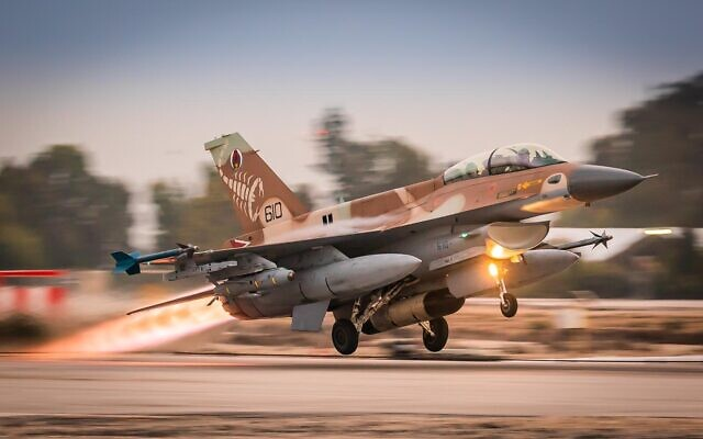 An Israeli F-16 fighter jet en route to an exercise in Germany in an undated photograph. (Israel Defense Forces)