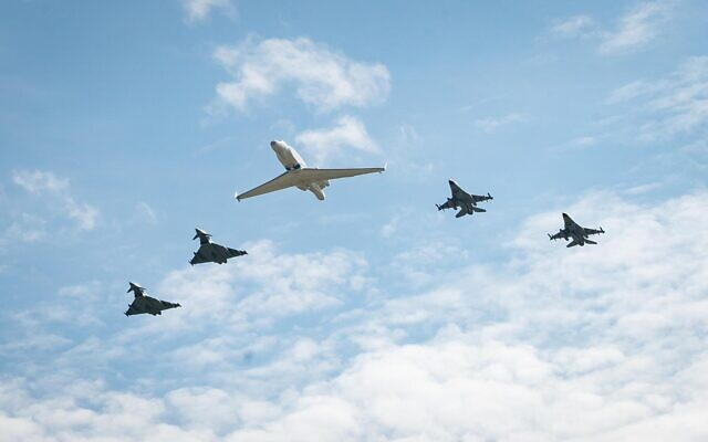 German air force Bundeswehr Eurofighters and Israeli Air Force F-16 jets and a Gulfstream plane fly in formation near Munich in commemoration of the 1972 Munich Olympic Games massacre in which 11 Israeli athletes were killed, on August 18, 2020. (Israel Defense Forces)