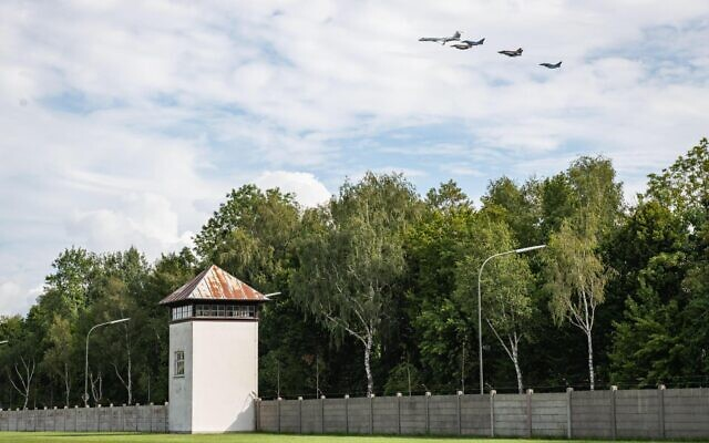 German air force Bundeswehr Eurofighters and Israeli Air Force F-16 jets and a Gulfstream plane fly in formation over the Dachau concentration camp in Germany on August 18, 2020. (Israel Defense Forces)