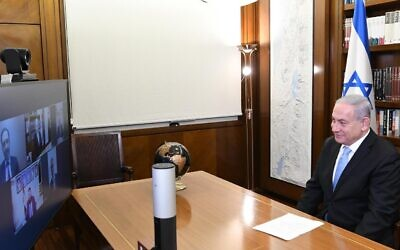 Prime Minister Benjamin Netanyahu speaks with leaders of the United Arab Emirates' Jewish community, August 20, 2020 (PMO)
