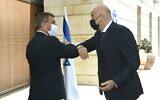 Greek Foreign Minister Nikos Dendias meets with his Israeli counterpart Gabi Ashkenazi in Jerusalem, August 13, 2020 (Twitter)