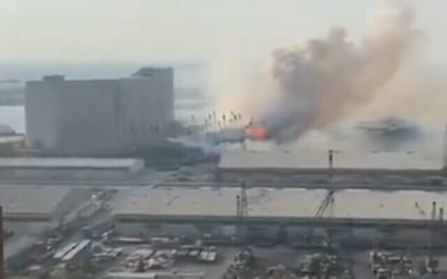 The site of a massive explosion at the port of Beirut, August 4, 2020 (video screenshot)