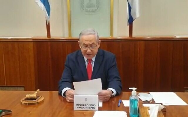 Prime Minister Benjamin Netanyahu at the opening of the cabinet meeting, August 2, 2020 (Screen grab/Channel 13)