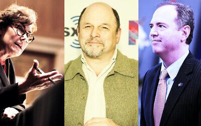 "From left: Sen. Jacky Rosen, ""Seinfeld"" star Jason Alexander and Rep. Adam Schiff. (Getty Images via JTA)"