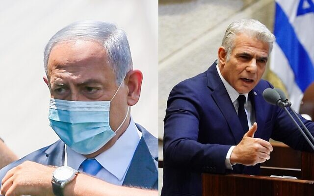 Composite photo of Prime Minister Benjamin Netanyahu in Ramla on August 4, 2020, Yair Lapid at the Knesset on May 17, 2020 (Yossi Aloni/Flash90, Knesset/Adina Veldman)