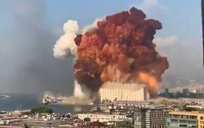 An explosion in Beirut's port on August 4, 2020. (screen capture: Twitter)