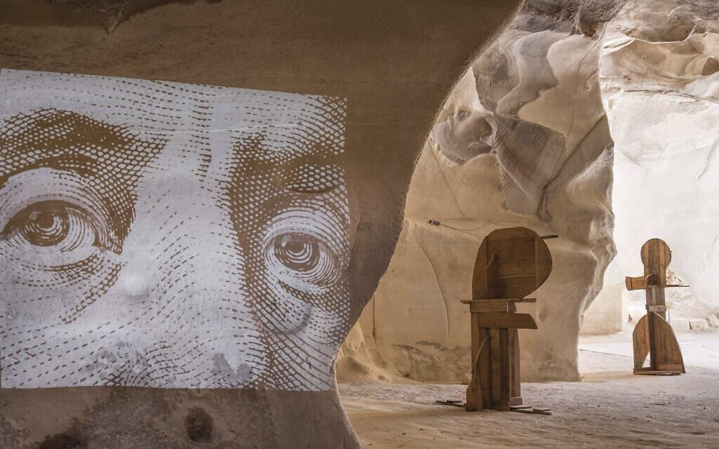 One of the 'Human Forms' sculptures and video art images created by artist Ivo Bisignano at the Beit Guvrin National Park, open until November 1, 2020 (Courtesy Ivo Bisignano)
