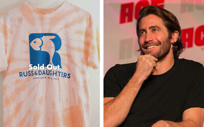 Actor Jake Gyllenhaal and a T-shirt he is promoting bearing the logo of the iconic Russ & Daughters appetizing shop. (Goldbelly/Getty Images via JTA)