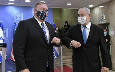US Secretary of State Mike Pompeo and Prime Minister Benjamin Netanyahu meet in Jerusalem on August 24, 2020. (Kobi Gideon/GPO)