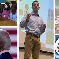 Clockwise from top right: Izzy Baer, co-director of Jews 4 Joe's outreach for young professionals; Jews4Joe logo; Ethan Wolf, co-founder of Jews4Joe; a photo of Joe Biden from a Jews4Joe ad; Sarah Gordon, third from right, is co-director of college outreach for Jews4Joe. (All photos of Jews4Joe courtesy; Biden photo by AP/Andrew Harnik)