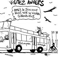 Vultures fly over a Jewish man in Antwerp, Belgium in a caricature from August 7, 2020 that critics say is anti-Semitic. (Pierre Kroll/Le Soir via JTA)