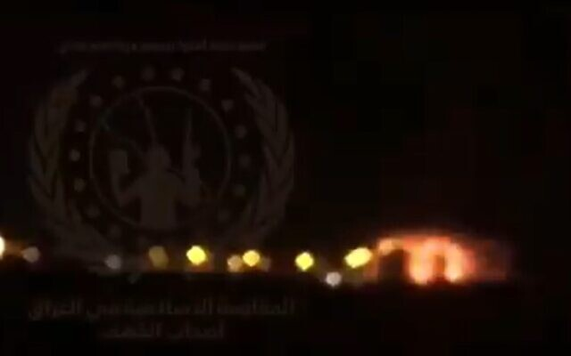 Screen grab of video purporting to show an explosion targeting a US-led coalition convoy in the Taji area, north of Baghdad, causing only minor damage, August 11, 2020 (Screen grab/Twitter)