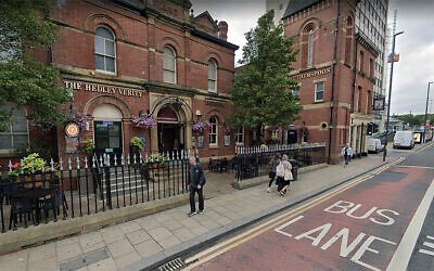 Pedestrians walks past the Hedley Verity pub in Leeds, the United Kingdom. (Google Maps via JTA)