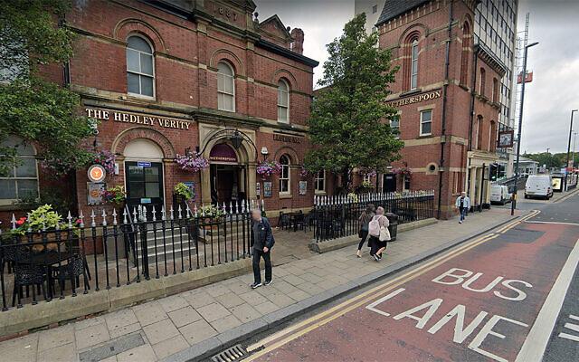 Pedestrians walks past the Hedley Verity pub in Leeds, the United Kingdom. (Google Maps via JTA)