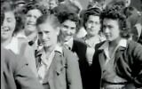 Lily Ebert, second-right, in the video reel taken by US troops while she was boarding a train after liberation of  Buchenwald (Screen grab)