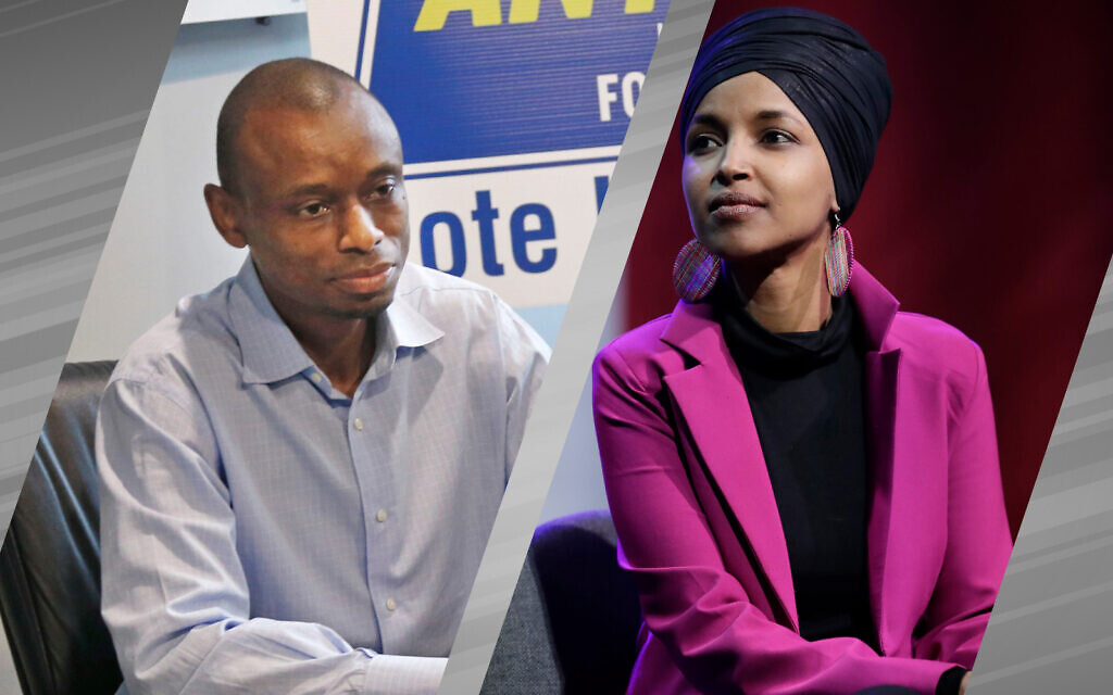 Antone Melton-Meaux is challenging incumbent Ilhan Omar in the 5th District Democratic primaries on August 11. (Photo of Antone Melton-Meaux: AP/ Jim Mone; Photo of Ilhan Omar: (AP/ Marcio Jose Sanchez)