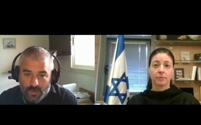 Labor lawmaker Merav Michaeli speaks with Times of Israel chief analyst Haviv Rettig Gur on the new Behind the Headlines series, August 11, 2020. (YouTube Screenshot)