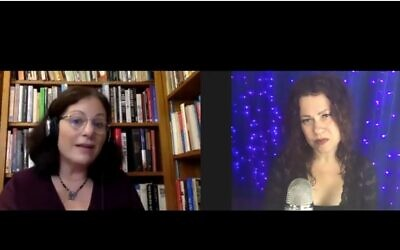 Times of Israel Opinion and Blogs Editor Miriam Herschlag, left, interviewing educator and singer Neshama Carlebach, right, for the Behind the Headlines online video series, August 26, 2020. (Screenshot YouTube)