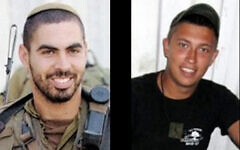 Maj. Eliraz Peretz, left, and Staff Sgt. Ilan Sviatkovsky, who were killed in a firefight with terrorists on the Gaza border in March 2010, in undated photographs. (Foreign Ministry)