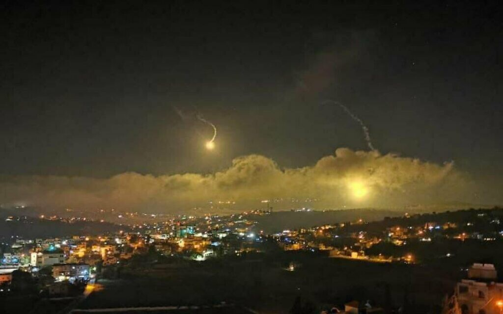 Illustrative: The Israeli military fires flares into the sky over the Lebanese border on August 25, 2020. (Courtesy)