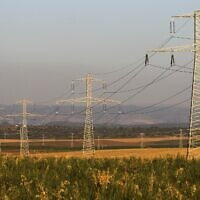 Power lines next to Moshav Bnei Re'em in central Israel, April 26, 2010. (Nati Shohat/Flash90)