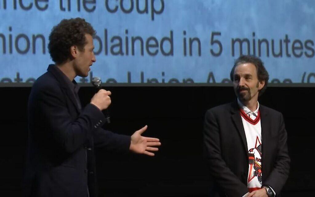 'Red Penguins' director Gabe Polsky, left, with Steven Warshaw at the Toronto International Film Festival, September 2019. (YouTube screenshot)