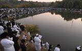 File: Pilgrims to Uman celebrating at the grave of Rebbe Nachman, Sept. 7, 2013. (Yaakov Naumi/Flash90)