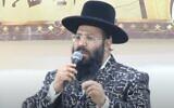 Rabbi Netanel Shriki of Netivot in 2017. (YouTube screen capture)