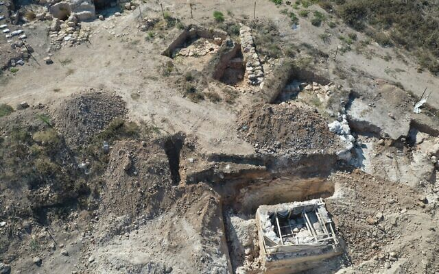 An ancient Roman Jewish farm discovered in the Galilee, with an intact ritual bath that was moved to nearby Kibbutz Hannaton in September 2020 (Courtesy Ibrahim/Israel Antiquities Authority)