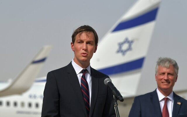 US Presidential Adviser Jared Kushner speaks next to US National Security Adviser Robert O'Brien (R) in front of an El Al plane at the Abu Dhabi airport, following the arrival of the the first-ever Israeli flight to the UAE, on August 31, 2020. (KARIM SAHIB / AFP)