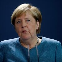 German Chancellor Angela Merkel gives a statement on September 2, 2020 at the Chancellery in Berlin about tests carried out by the German army on Russian opposition leader Alexei Navalny. (Markus Schreiber/POOL/AFP)