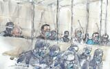 A courtroom sketch made on September 2, 2020, at the Paris courthouse shows the 14 accused and their lawyers, wearing a protective mask, on the first day of the trial of the accomplices in Charlie Hebdo jihadist killings in 2015. (Benoit Peyrucq/ AFP)