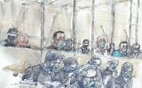 A courtroom sketch made on September 2, 2020 at the Paris courthouse shows the fourteen accused and their lawyers, wearing a protective mask, on the first day of the trial of the accomplices in Charlie Hebdo jihadist killings in 2015. (Benoit PEYRUCQ / AFP)
