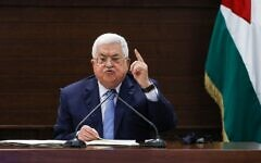 Palestinian Authority President Mahmud Abbas speaks in the West Bank city of Ramallah on September 3, 2020. (Alaa Badarneh/Pool/AFP)