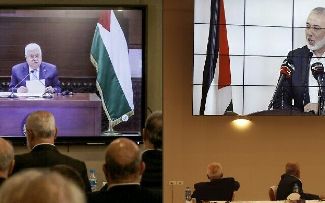 This combination of pictures taken on September 3, 2020 shows (L to R) representatives of Palestinian factions gathered at the Palestinian embassy in Lebanon's capital Beirut attending by video conference talks with Palestinian Authority President Mahmoud Abbas (screen); while their counterparts in the West Bank's Ramallah watch the speech of Hamas chief Ismail Haniyeh as he speaks in Beirut during the same meeting (ANWAR AMRO and Alaa BADARNEH / various sources / AFP)