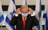 Prime Minister Benjamin Netanyahu visits the city of Beit Shemesh near Jerusalem on September 8, 2020. (Alex Kolomiensky/Pool/AFP)