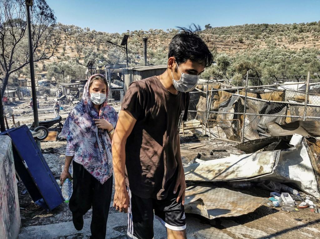 Lesbos migrant camp fire