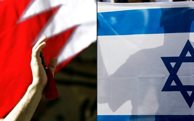 This combination of pictures created on September 11, 2020, shows a Bahraini man waving a national flag (L) in the capital Manama on March 22, 2011, and an Israeli man holding his country's national flag on January 24, 2017. (Joseph Eid and Jack Guez/AFP)