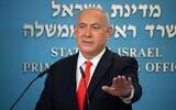 Prime Minister Benjamin Netanyahu announces a new coronavirus lockdown, on September 13, 2020. (Yoav Dudkevitch/Pool/AFP)