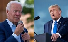 This combination of pictures created on September 25, 2020 shows a photo taken on September 23, 2020 Democratic presidential candidate Joe Biden speaks at the Black Economic Summit at Camp North End in Charlotte, North Carolina.  In this file photo taken on September 24, 2020 US President Donald Trump speaks during a campaign rally at Cecil Airport  in Jacksonville, Florida. (JIM WATSON and Brendan Smialowski / AFP)