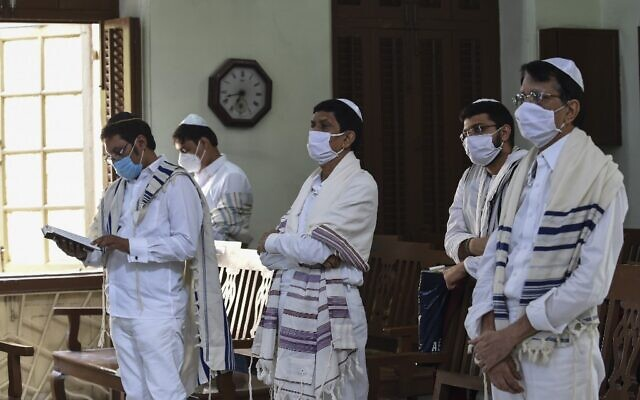 Jews pray during Yom Kippur, also known as the Day of Atonement, at the Magen Abraham Synagogue in Ahmedabad, India on September 28, 2020. (SAM PANTHAKY / AFP)