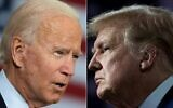 This combination of file pictures created on September 28, 2020 shows Democratic presidential candidate Joe Biden(L) speaking in Tampa, Florida on September 15, 2020 and US President Donald Trump speaking during an event for black supporters at the Cobb Galleria Centre September 25, 2020, in Atlanta, Georgia. (JIM WATSON and Brendan Smialowski / AFP)