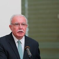 Palestinian Authority Foreign Minister Riyad al-Maliki at a press conference on Tuesday, September 22, 2020 (WAFA)