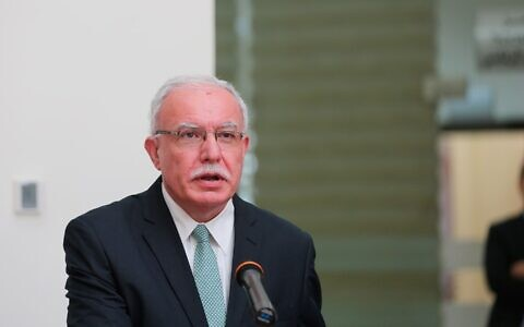 Palestinian Authority Foreign Minister Riyad al-Maliki at a press conference on September 22, 2020. (WAFA)